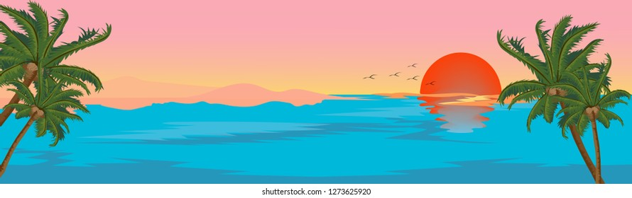 Tropical seascape blue ocean and coconut tree with pink and orange sky, Panoramic sea beach with sunset, Panorama beach view. Vector illustration of landscape seaside for Summer holidays background,