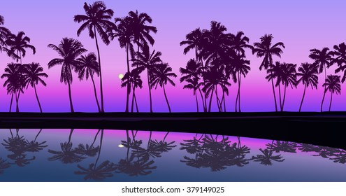 Tropical seashore night palm tree silhouettes moonlight clear sky interesting vector outline illustration background