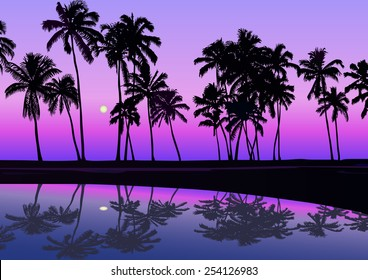 Tropical seashore with palms in the night with moonlight and clear sky. Vector illustration