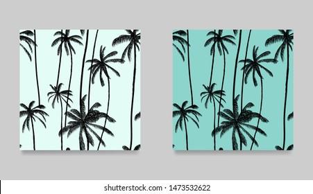 Tropical set black palm tree seamless pattern. Natural pastel blue wallpaper. Trendy summer hawaiian fabric design. Vector illustration.