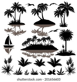 Tropical set, sea island with palm trees, plants, flowers, birds gulls and ship, black silhouettes isolated on white background. Vector