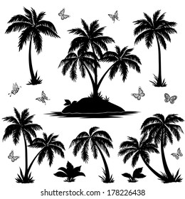 Tropical set: sea island with plants, palm trees, flowers and butterflies, black silhouettes isolated on white background. Vector