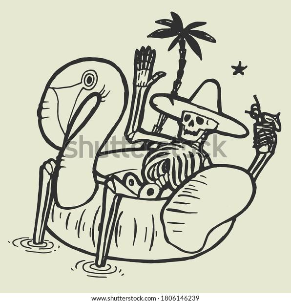 tropical-skeleton-resting-pool-flamingo-