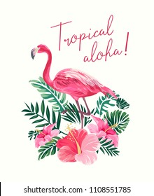 tropical slogan with flamingo and hibiscus illustration