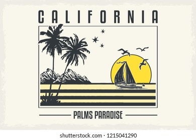 Tropical slogan with ocean. American surf artwork, los angeles badge. California grunge paradise for girl. For t-shirt with palms. Vector illustration.