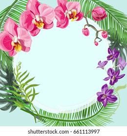 Tropical square card, round frame with bouquet red, purple orchids, flowers and buds, green palm, bamboo, monstera leaves on blue background, digital draw illustration, template for design, vector