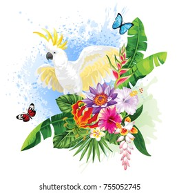 Tropical summer arrangement with cockatoo, palm leaves and exotic flowers. Vector illustration.
