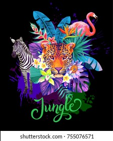 Tropical summer arrangement with  flamingo, zebra, leopard, palm leaves and exotic flowers. Vector illustration.