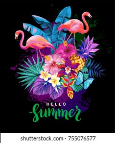 Tropical summer arrangement with  flamingos, palm leaves and exotic flowers. Vector illustration.