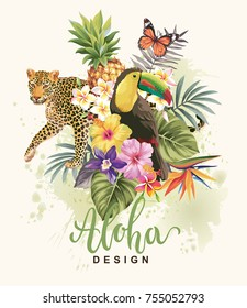Tropical summer arrangement with leopard, toucan, palm leaves, butterflies and exotic flowers. Vector illustration.