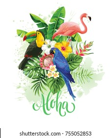 Tropical summer arrangement with parrot, flamingo, toucan, palm leaves and exotic flowers. Vector illustration.