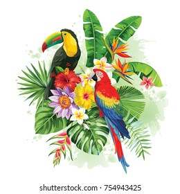 Tropical summer arrangement with parrot, toucan, palm leaves and exotic flowers. Vector illustration.