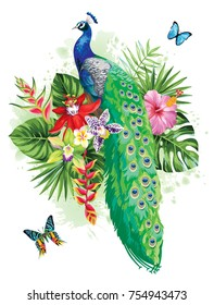 Tropical summer arrangement with peacock, palm leaves, exotic flowers and butterflies. Vector illustration.