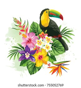 Tropical summer arrangement with  toucan, palm leaves and exotic flowers. Vector illustration.