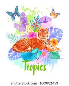 Tropical summer arrangement. Vector illustration.