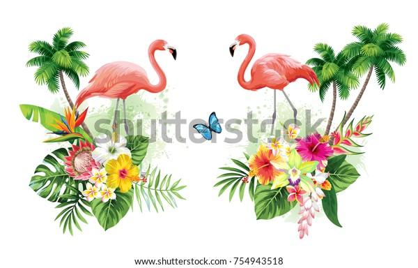 Tropische Sommerarrangements mit Flamingos, Palmen, Blättern, exotischen Blumen und Schmetterlingen.  Vektorgrafik.