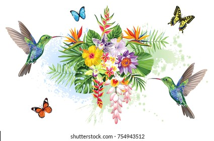 Tropical summer arrangements with  humming-birds, palm leaves, exotic flowers and butterflies. Vector illustration.