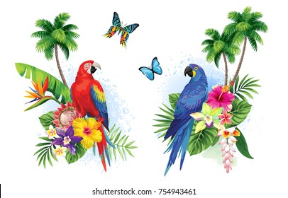 Tropical summer arrangements with parrots, palm, leaves, exotic flowers and butterflies. Vector illustration.