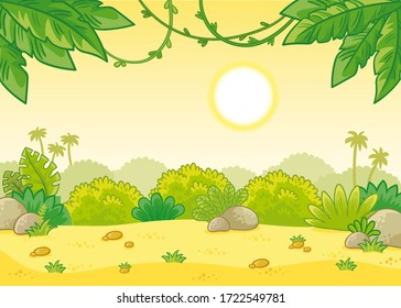 Tropical summer background with the scorching sun. Vector illustration in cartoon style with vines and a sand glade.