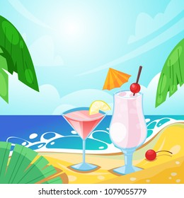 Tropical summer beach, alcohol beverages on sand. Vector bar illustration. Pina colada and cosmopolitan cocktails.