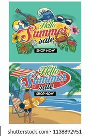 tropical summer beach flyer design set
