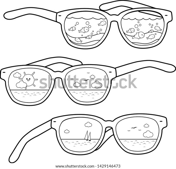 Tropical Summer Beach Scenes Reflected Sunglasses Stock