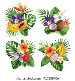 Tropical summer bouquet with palm leaves, exotic flowers and fruits. Vector illustration.