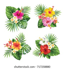 Tropical summer bouquet with palm leaves and exotic flowers. Vector illustration.