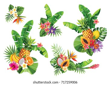 Tropical summer bouquet with palm leaves, exotic flowers, fruits and butterflies. Vector illustration.