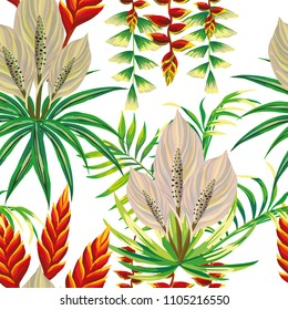 Tropical summer composition trendy flowers exotic leaves on the white background. Seamless pattern vector
