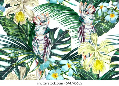 Tropical summer floral vector seamless pattern background with parrots, cockatoo birds, exotic flowers, palm leaves, jungle leaf, monstera, orchid flower. Botanical natural wallpaper