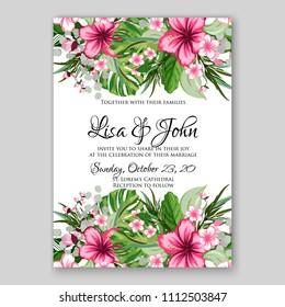 Tropical Summer Floral Wedding Invitation Vector Card Template Printable Background Pink Red Yellow Violet Hibiscus Aloha