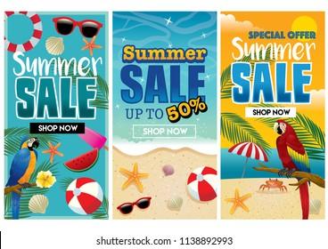 tropical summer flyer design in set