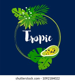 Tropical summer frame with palm leaves, papaya and text on dark background. Flat design. Vector illustration.