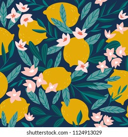 Tropical summer fruit seamless pattern. Citrus tree in hand drawn style. Vector fabric design with  lemons and flowers.