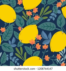 Tropical summer fruit seamless pattern. Citrus on a dark background. Hand drawing vector illustration. Lemons. Floral print with leaves and flowers. Original modern design