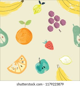 Tropical summer fruits isolated background vector, illustration pattern. Bana, orange, apple, strawberry, lemon, lime, grape, pear watercolor, hand drawn, sketch. With old look texture.