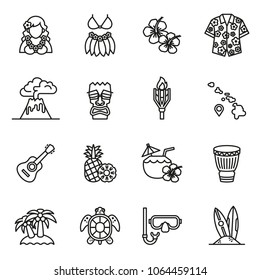 Tropical summer, hawaii icon set with white background. Thin Line Style stock vector.