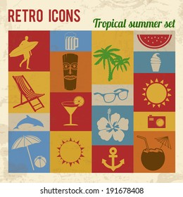 Tropical summer icons set. Retro signs with grunge effect, vector illustration