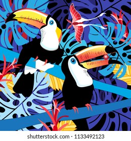 Tropical summer illustration of toucans in the jungle