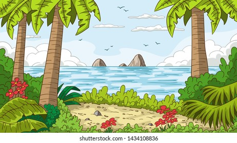 Tropical summer landscape with trees. Vector illustration with separate layers.