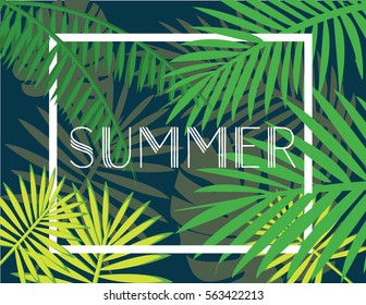 Tropical summer leaves with sign and trend frame