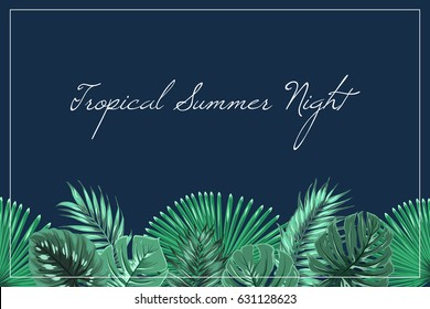 Tropical summer night horizontal wide header footer element template. Exotic jungle rain forest palm tree leaves greenery on dark midnight blue background. Vector design illustration text placeholder.