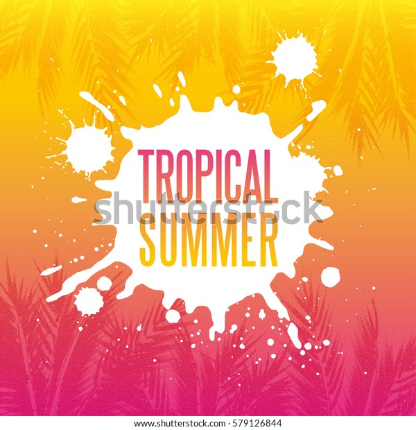 Tropical summer paradise background. Palm tree leaves with stipple effect at colorful sunset gradient