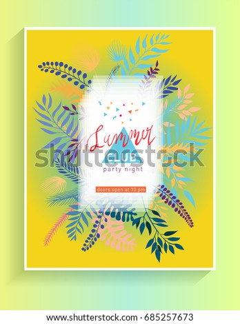 tropical summer party poster vector flyer stock vector royalty free