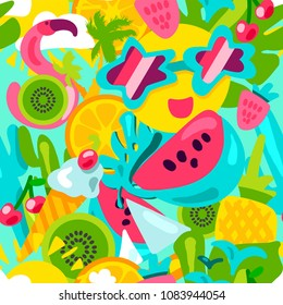 Tropical summer pattern. Bright fruits, berries, ice cream and flamingos with other attributes of warm summer and vacation in pink-green-blue tones. Vector illustration
