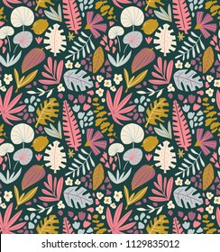 Tropical summer plants seamless pattern. Palm tree leaves and flowers in hand drawn style. Vector fabric design.
