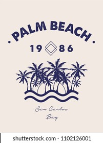 Tropical summer print with palm trees and text in vector.