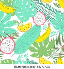 Tropical summer seamless background with repeating bananas and dragon fruit. Great for print on fabric and children clothes, apparel, as a background texture for your web site of blog.