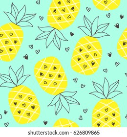 Tropical summer seamless background with repeating pineapples. Great for print on fabric and children clothes, apparel, as a background texture for your web site of blog.